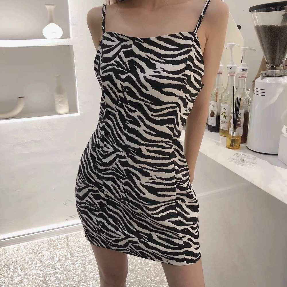 2021 Primavera Vestido de mujer Red Blogger rojo Sexy Zebra Impresión Slim Fit Bag Hip Apretado Suspender Falda