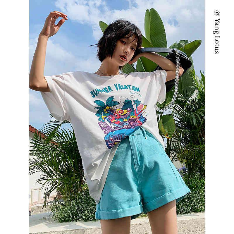 Yanglian 2021 summer new cool summer printed T-shirt, boyfriends' casual loose and slim top, women's style