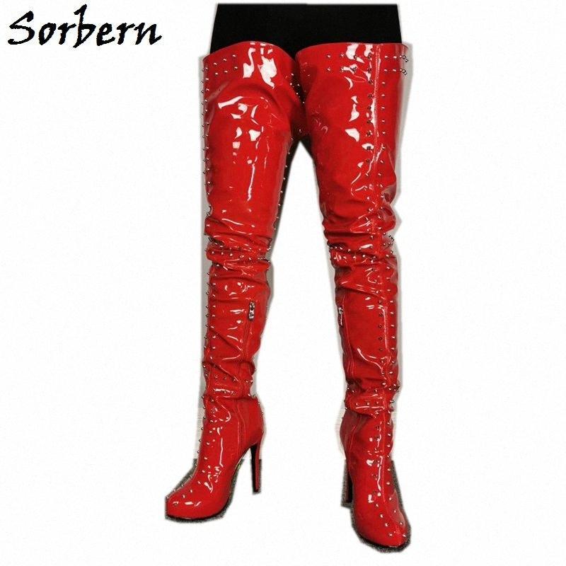 Bottaches de brevetax rouges Bottines Haute Bottes Femmes sur le genou Haute Heel Heel Studs Punk Rivets Custom Wide Slim Jambes Service 54AA #