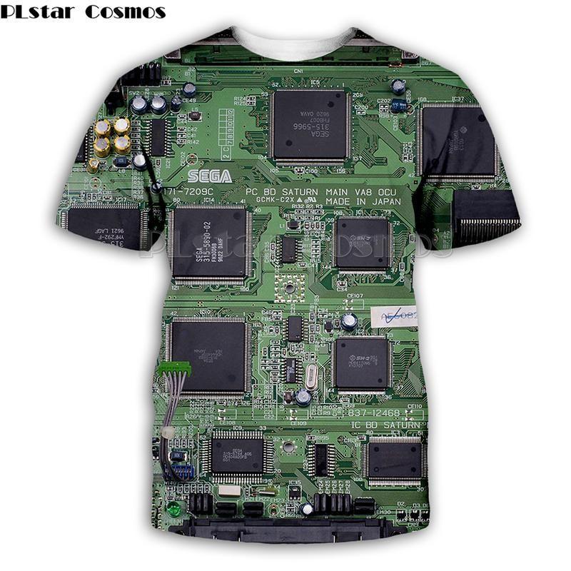 Herren T-shirts Cosmos Elektronische Chip Hip Hop Tshirt Männer 3D Volldruck T-shirts Sommer Kurzarm T-Stück Harajuku Punk-Stil Frauen / Unisex