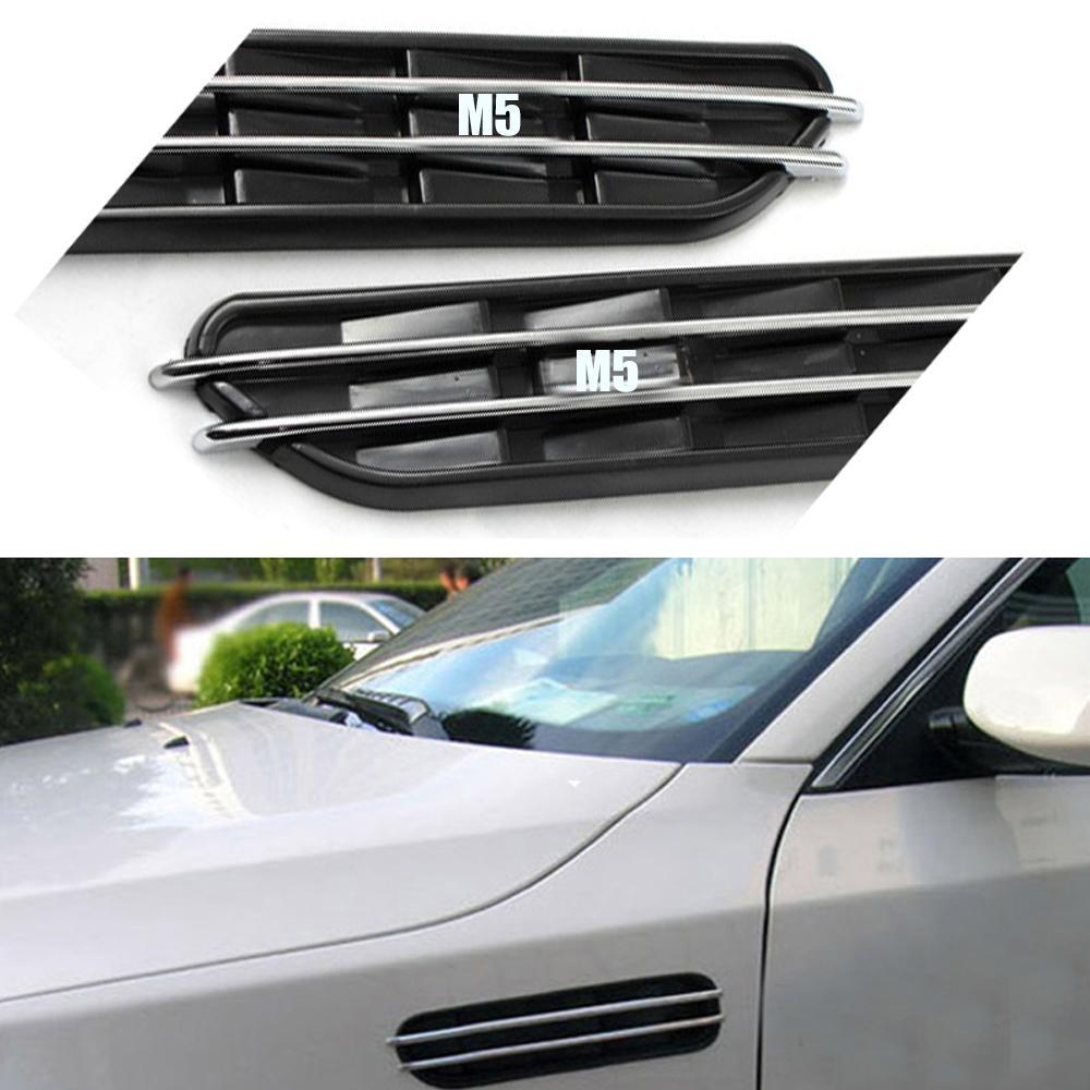 공기 흐름 펜더 상어 아가미 사이드 벤트 장식 스티커 구멍 그릴 BMW E60 E61 E39 E34 M3 E46 M5 2pcs