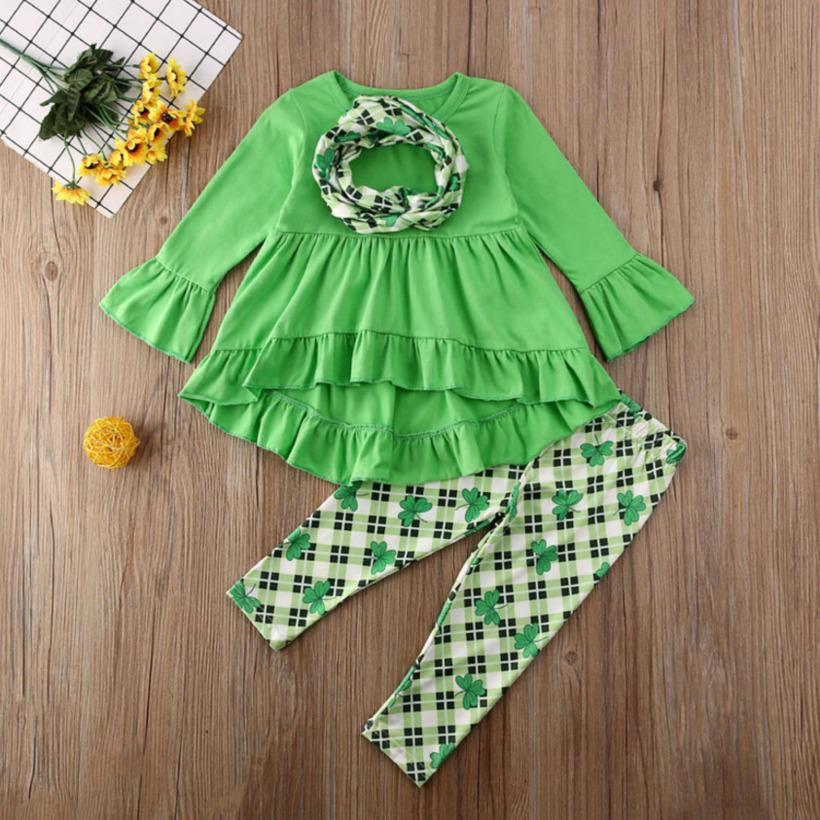 INS Kids Clothes Set Flared Sleeve Dress Wave Skirt Pants Trousers Leggings Set Baby Girls Two Pieces Outfits Lucky Clover Set H32CXUO