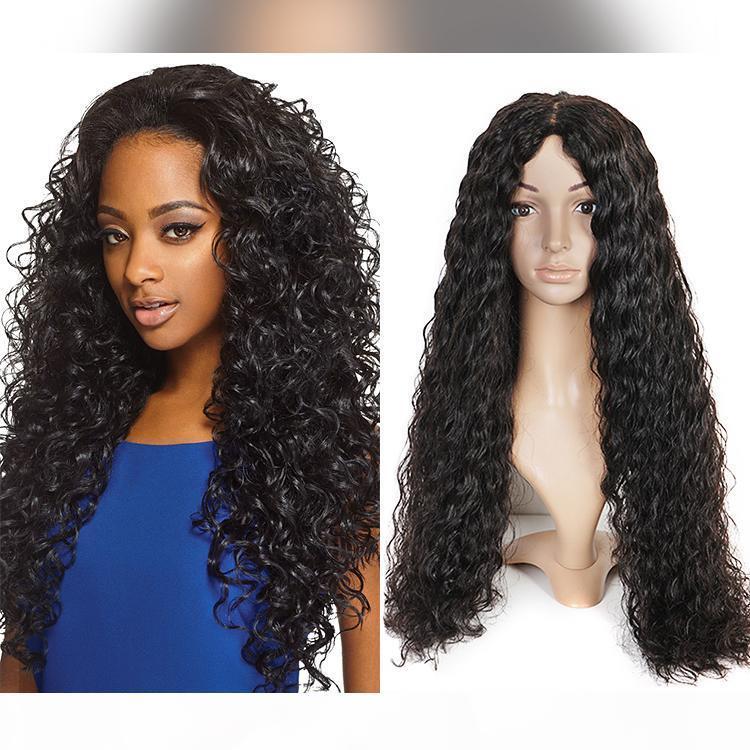 100% необработанные гладкие девственницы человеческие волосы красоты натуральный цвет AAAAAA водяной волна длиной полное кружевное верхнее парик для продажи