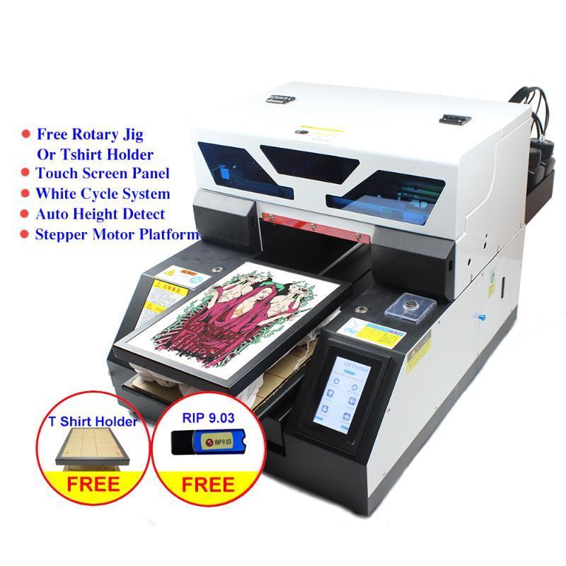طابعات شاشة تعمل باللمس A4 طابعة uv dtg شيرت النسيج النسيج آلة الطباعة مع هدية حبر مجموعة ل زجاجة حالة الهاتف القلم الخشب المعدنية