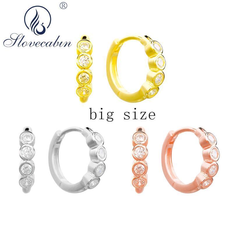 Slovecabin 925 Sterling Prata Redondo Zircão Big Hoop Huggies Brincos para Mulheres Presente de Alta Qualidade Cristal Senhoras Bijoux Jóias