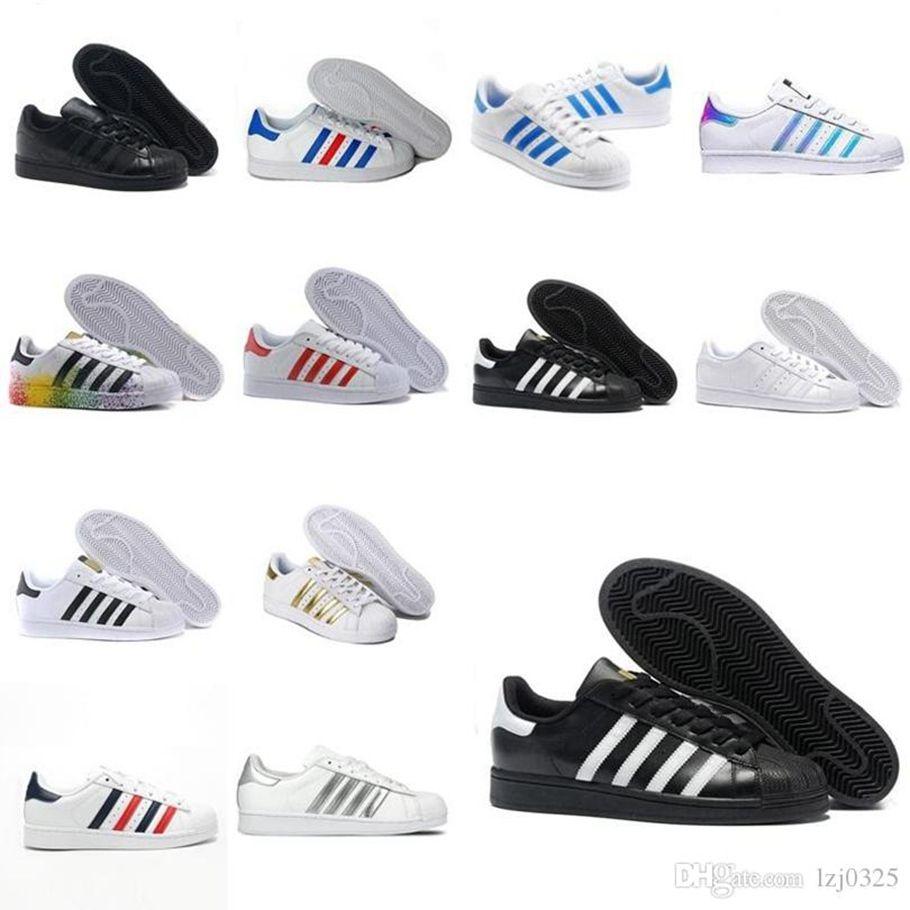 Nuevos Originales Superstares Blanco Red Oro Supers Starts Pride Sneakers Supers Star Lady Men Sport Casual Zapatos Tamaño 36-44 A1X-1137 P17
