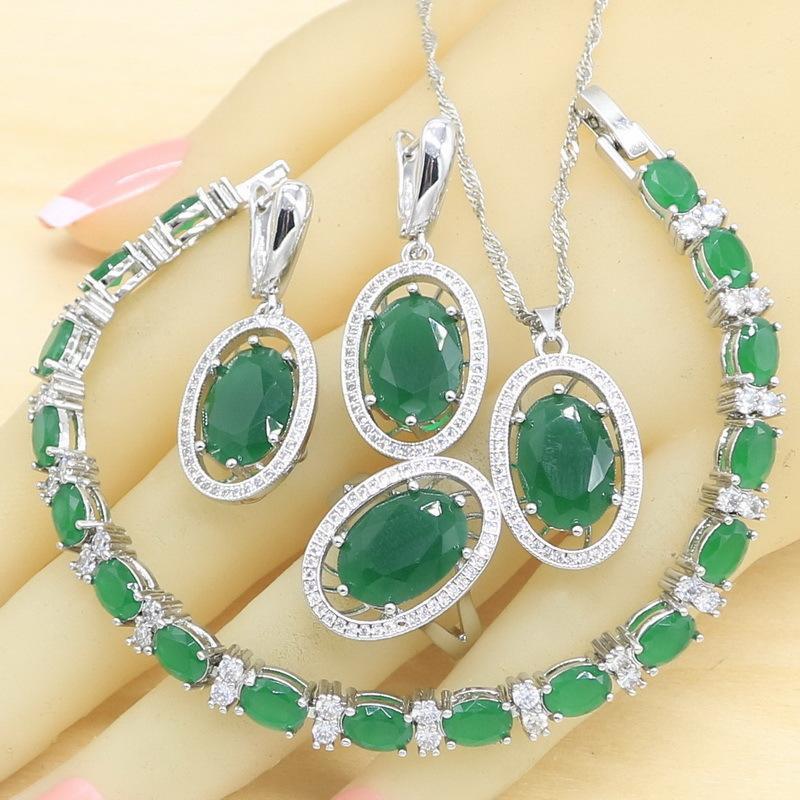Yeşil Yarı Değerli Gümüş Renk Takı Setleri Kadınlar için Küpe Bilezik Yüzükler Kolye Kolye Hediye Kutusu