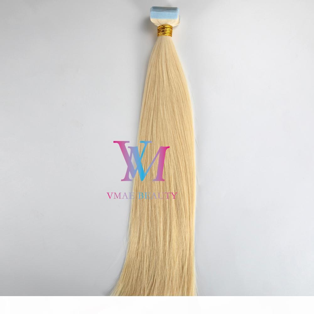 European 14 à 26 pouces 100g Couleurs naturels Multi couleurs Pièce à poitrine soyeuse Virgin Remy Remy Human Cheveux Extensions Double Tun Ruban