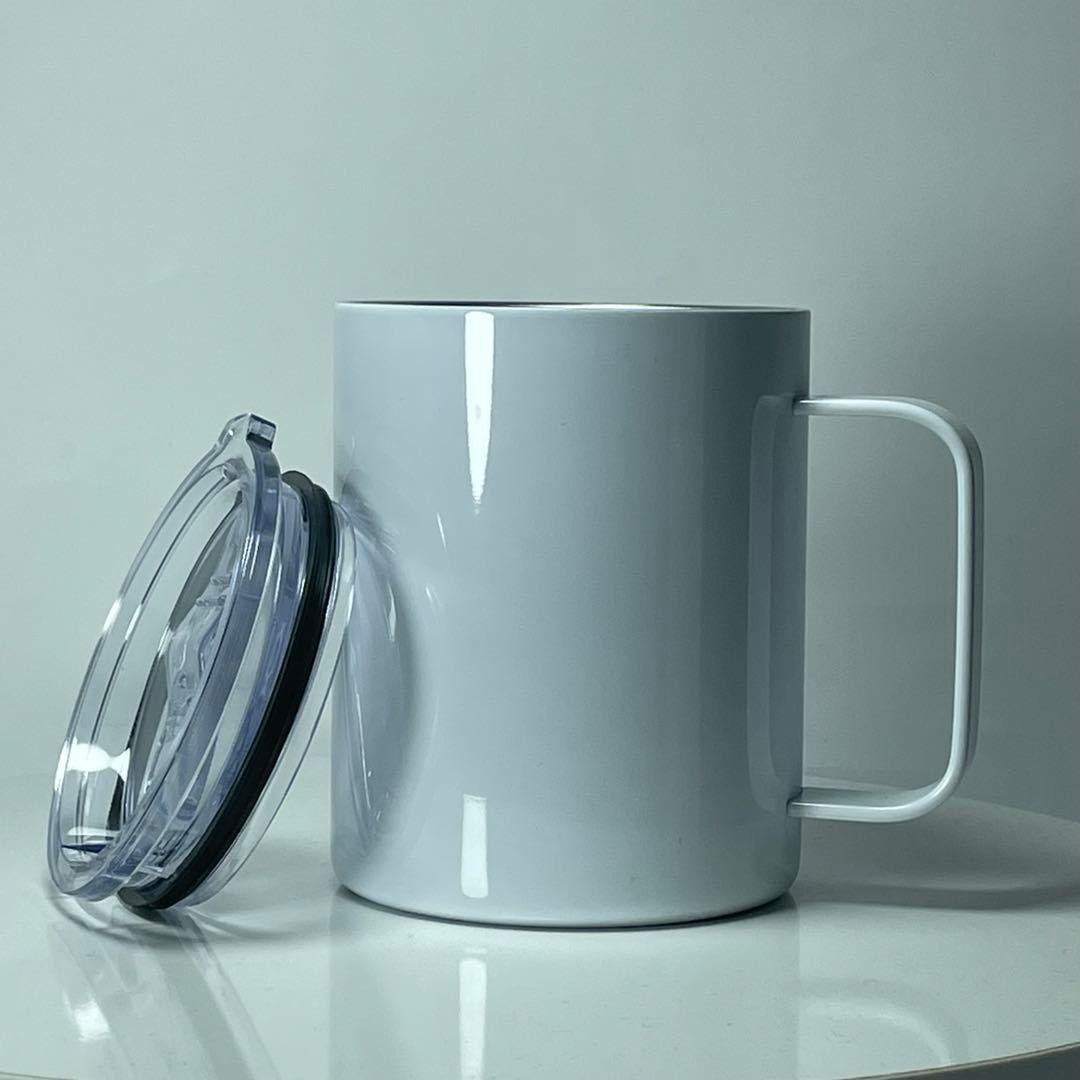 12Oz Sublimation Kaffeetasse mit Griff Edelstahl Wasserflasche Thermische Übertragung Trinkbecher Weiße Leere Becher A02