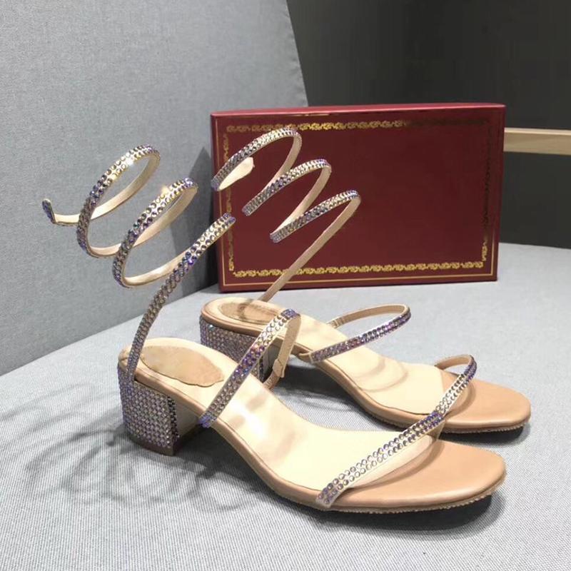 Tıknaz Topuk Sandalet Kadınlar Parti Düğün Sandalet Yaz Kristalleri Ayakkabı Kadın Strappy Açık Burnu Sandal Yılan-Wrap Stil