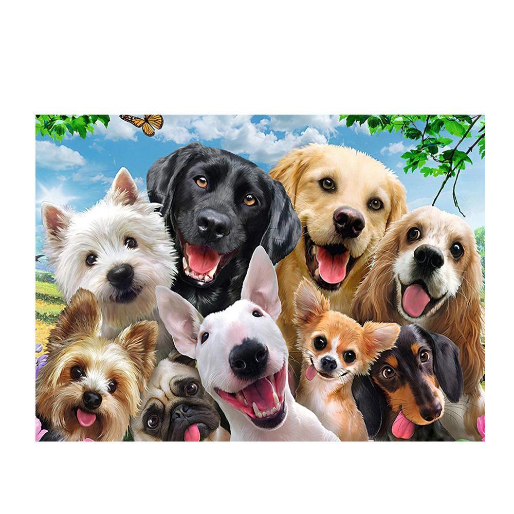 1000 шт. Jigsaw Puzzles Собачья щенка для собак Средство стимулирования воображения образовательные головоломки для взрослых детские игрушечные подарок