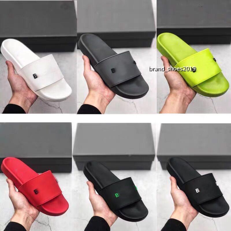 En Kaliteli Yeni Renk Paris Kaydırıcılar Erkek Bayan Yaz Sandalet Plaj Slayt Terlik Bayanlar Flip Flop Loafer'lar Sky Blue Chaussures