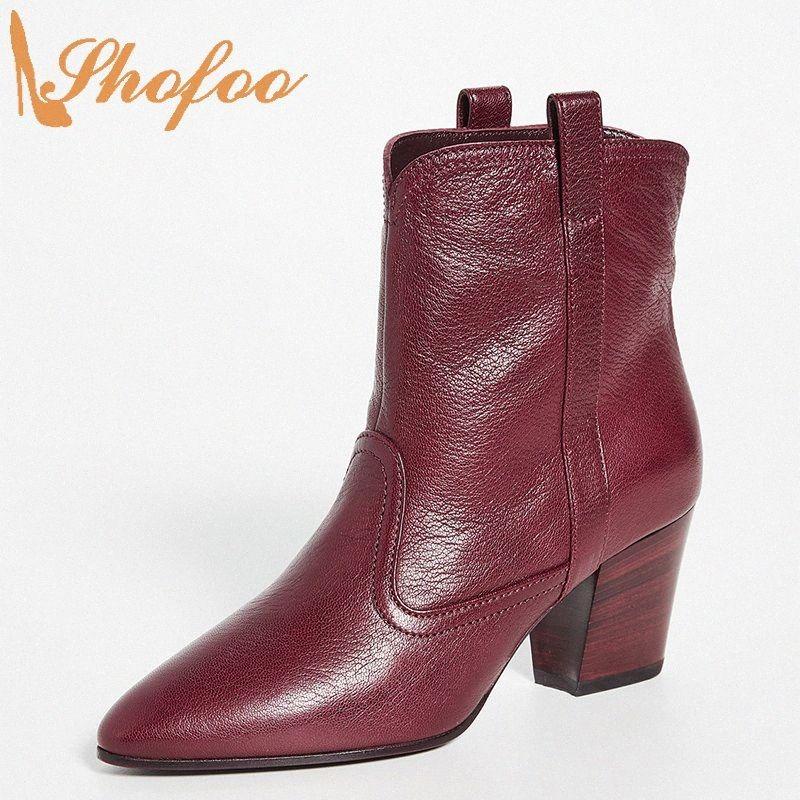 Bottillons Bourgogne High Chunky Talons pointus Toe Femme Slip sur la grande taille 11 15 Pour les dames matures chaussures de mode chaussures de la cheville Bottines Shofoo L7BK #