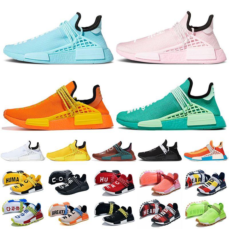 2021 adidas pharrell williams nmd human race كبير حجم رجل إمرأة حذاء عداء لون قرنفل برتقاليّ حذاء رياضة