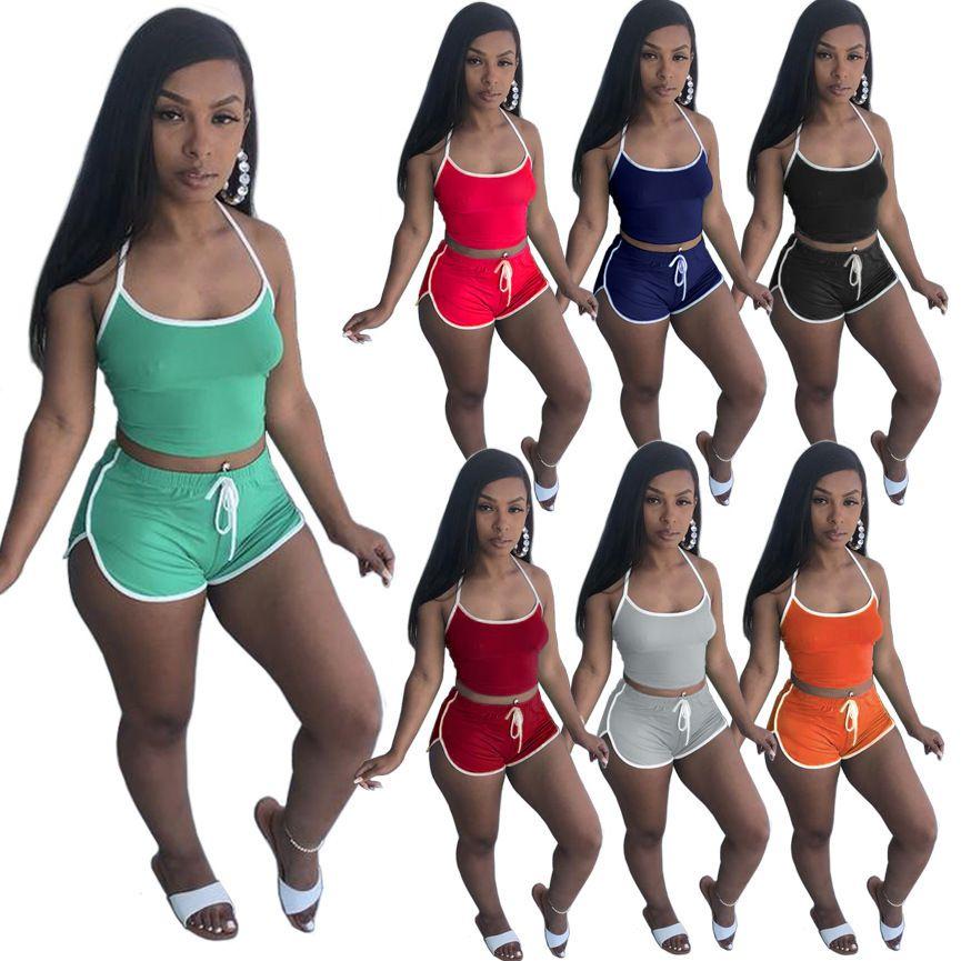 مصمم الصيف رياضية إمرأة 2 قطعتين السراويل مجموعة السراويل تتسابق بلون عارضة الملابس مثير الحمالات قمم البدلة زائد الحجم 898