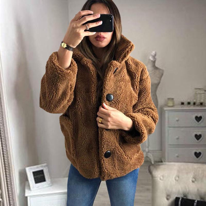 Chaquetas de mujer para mujer y abrigos invierno peluche de peluche mujeres chaqueta de piel sintética gruesa peluche caliente plus plus size abrigo casaco feminino # 62