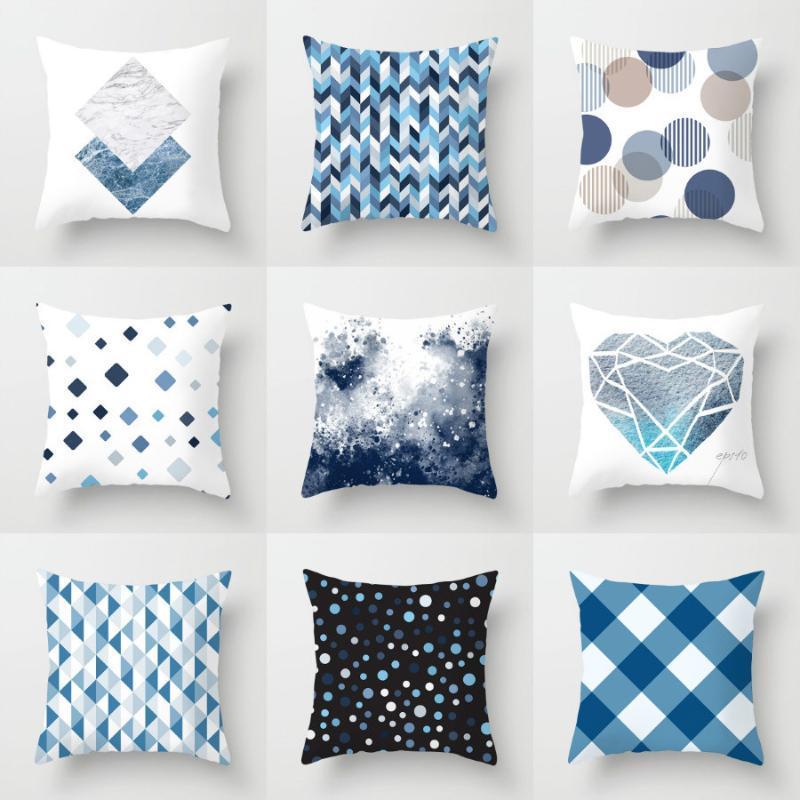 Подушка / декоративная подушка синий цвет океан геометрическая крышка 45x45 тумбочка подушка для подушки автомобиля чехол охватывает декоративное