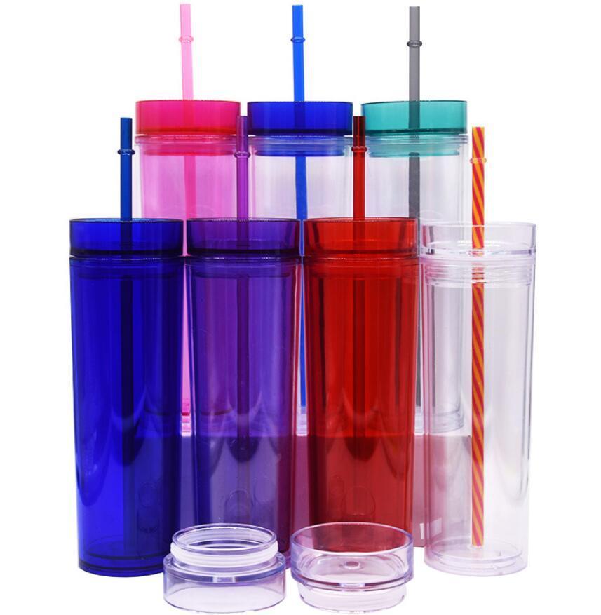 450 ml Akrilik Sıska Tumbler Ile Saman Ev Çift Duvarlı Plastik Kahve Kupalar Temizle Renkli Su Şişeleri Seyahat Düz Fincan