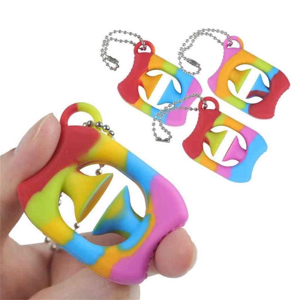 Rainbow Color Fidget Grabs Agarra de la mano Anillo de llaves Sensor Sensor Cricle Squeey Squesy Agarrar Squeeze Mano Snappers Dedo Entrenamiento Autismo Alivio Alivio Juguetes G79VNR1