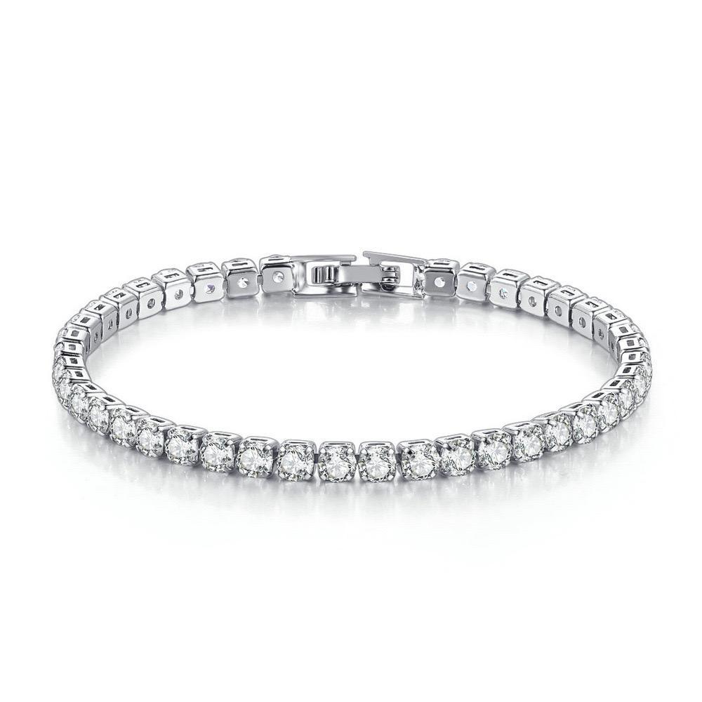 Bracelet en zircon européen et américain simple rangée 4mm rond de la chaîne de tennis de diamant complet frontière frontière hip hop bijoux bracelet de tennis