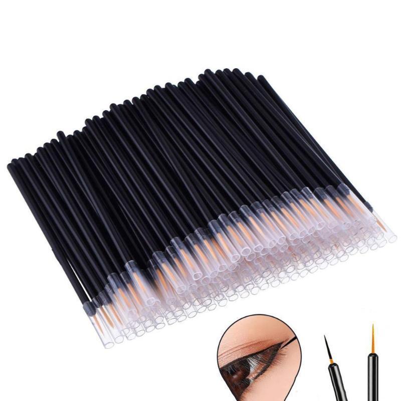 Maquillage pinceaux 50pcs / set brosse jetable eye-liner baguette applicateur de fibre professionnelle artificielle pour femmes