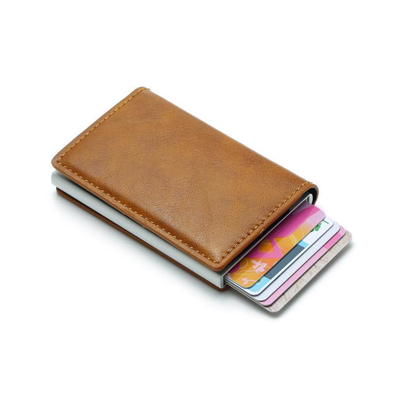 ByCobecy Unisex-Sicherheitsinformation Aluminium-Metall-Geldbörse Antitheft Männer Vintage Kreditkartenhalter blockieren RFID-Wallet Jlliqf