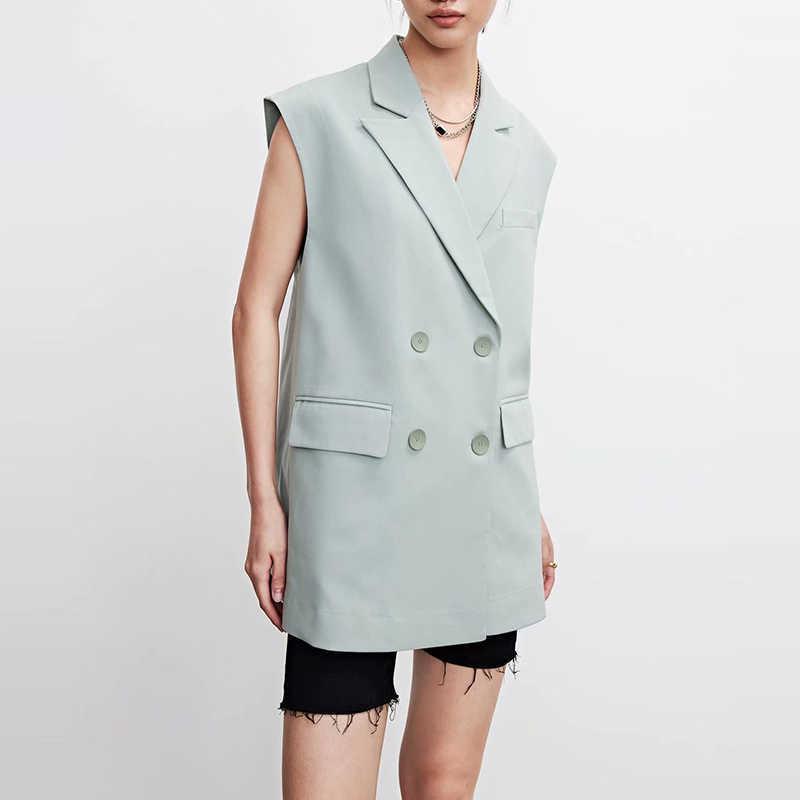 Mode Frauen Solide lange Weste Mantel Chic Office Damen Sleeveless Double Breasted Blazer Weste Tops MSD1832 210603