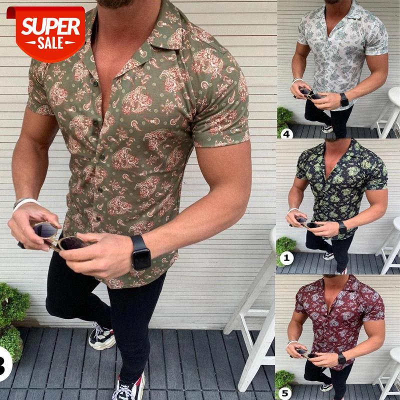 Camisas de moda para hombres Camisa de impresión floral de manga corta Camisas de verano Vestido de hombres Vestido de camisas Botón de solapas Collar de cuello Hombre rechazo cuello # xy3g