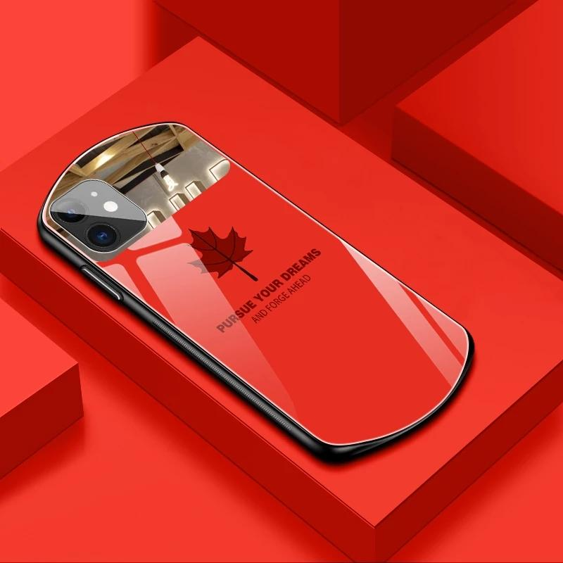 New Fashion Leaf Maple Mirror Phone Case For iPhone 11 12 Pro Max X XR XS 7 8 Plus Luxury Tempered Glass Hard Back Cover