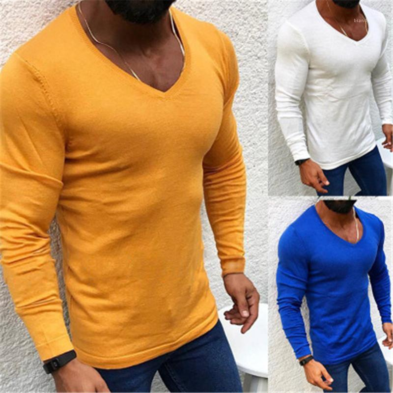 Pull Sweater mâle Smoom Skinny Casual Downing Homme Couleur Solide Couleur Sweates Fashion Tendance longue Manches rondes Cou Slim Slim