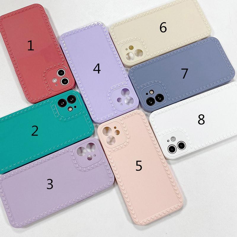 Liebe Herz Telefon Hüllen für iPhone 12 11 PRO MAX XS XR 7 8 Plus Candy Color Glossy Weiche TPU Rückseite