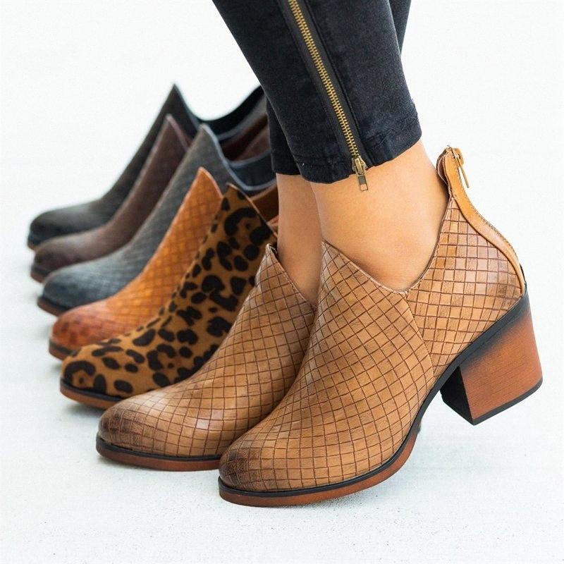 Monerffi botas curtas mulheres tornozelo botas zíperes xadrez padrão de leopardo PU couro de couro baixo escorregamento de salto baixo na inicialização botas mujer 15q8 #