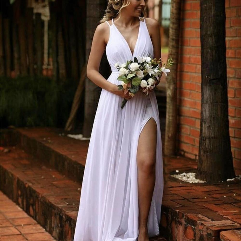 Beach Wedding Dresses Bride 2021 New Side Split Modest Middle East Boho White Chiffon Bridal Gown Holiday