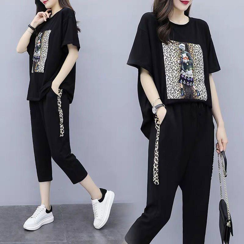 2021 Новые летние женские черные пешеходные трексуиты повседневные брюки набор с короткими рукавами мода спортивная одежда теленка длина брюки 5XL DNZH