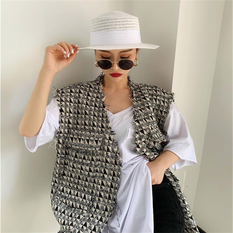 Frühling Neues Design Frauen Mode HundeTooth Sleeveless Westen Jacke Outwear Casual Marke Weste Gilet Femme T200820