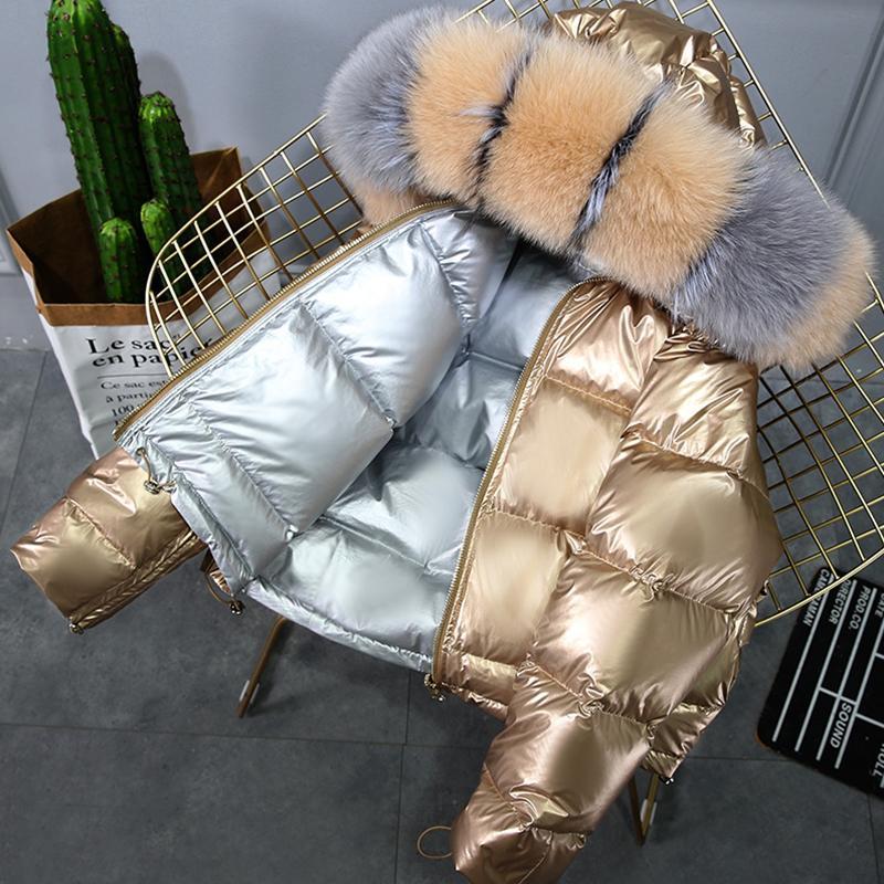 Fashion Fur Collar Coat Winter Jacket Women 90% Down Filled To Keep Warm Down Jacket Double Sided Hooded Waterproof Parkas