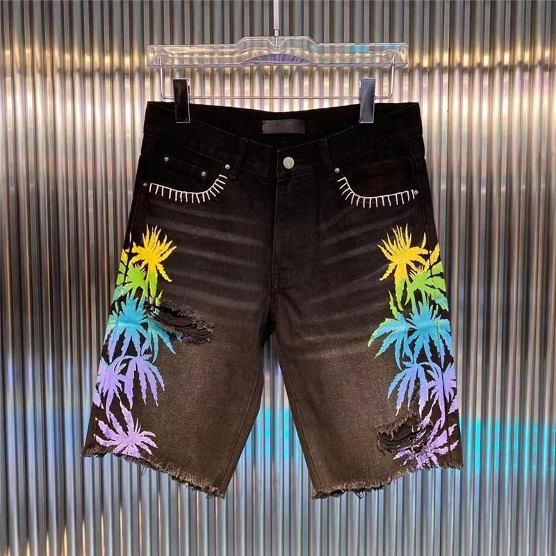 남성 데님 짧은 패션 블루 스트레이트 구멍 청바지 캐주얼 반바지 검은 여름 남성 힙합 바지 DW7082
