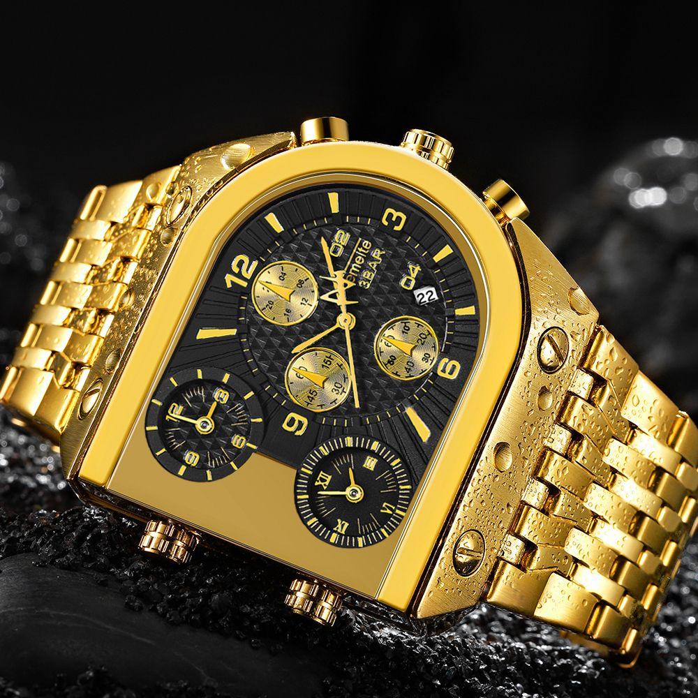 TEMEITE Quartz Mens Watches Top Brand Luxury Golden Clock 3 Time Zone Date Stainless Steel Strap Military Oversize Wristwatch C0227