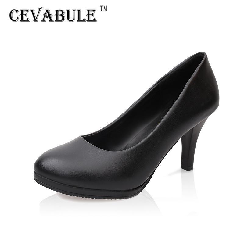 CEVABULE 2021 Mulheres Redonda Carreira Alta Hotel Sapatos de Mujer Mulheres Bomba Salto Kitty Sapatos LSS 210225