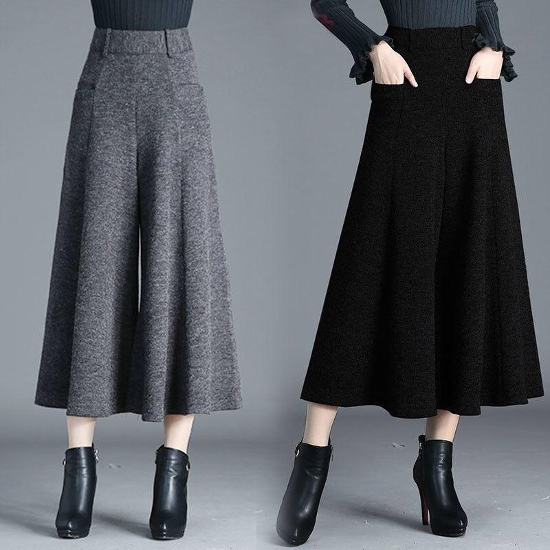 Pantalones para mujer Capris Mujeres Winter Winte Wide Wide Baggy Vestido de lana Pantyhose lanzado grueso cálido gris negro becerro talla grande