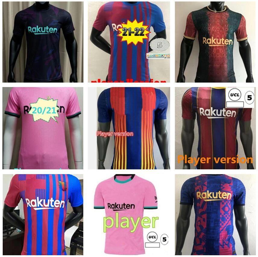 2022 Versão do jogador FC Barcelona Jersey Kun Aguero 21 22 22 Camiseta Futbol Ansu Fati Tailândia 2021 Messi Grisezmann de Jong Maillots Camisa de Futebol