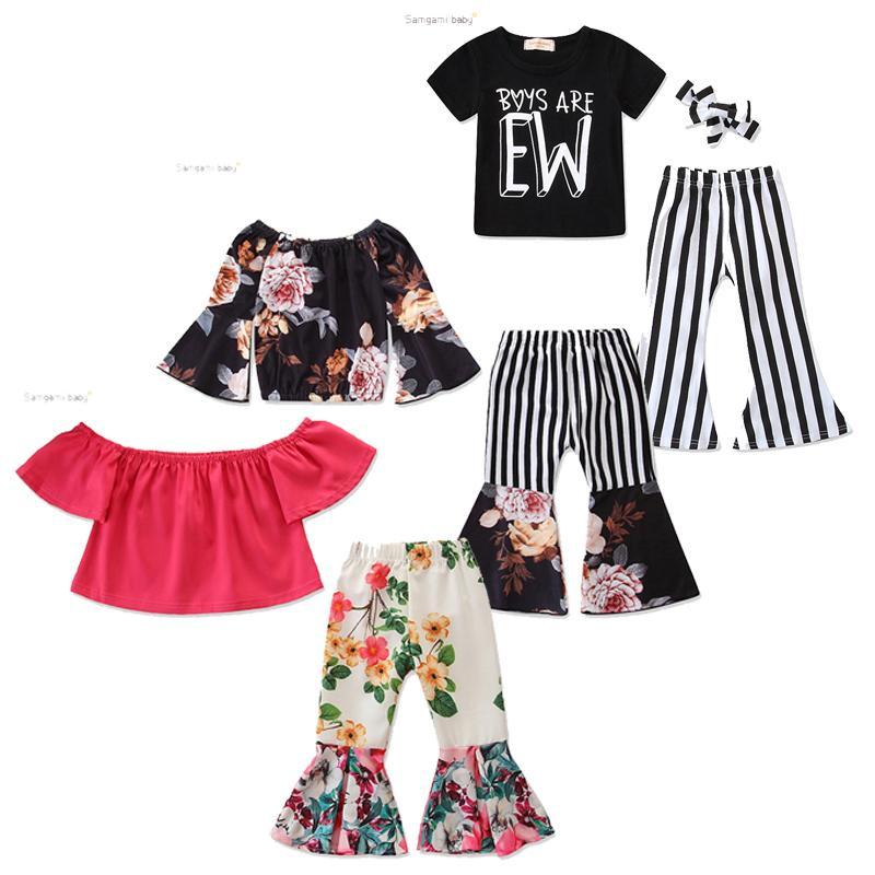 Bambina vestito floreale Bambino ragazza fuori spalla a spalla roffa manicotto a manica top manica top elastici stripe piccolo pantaloni florali floreali floreali 1-7T