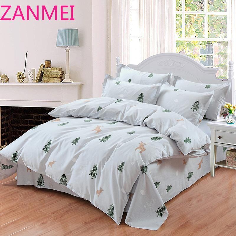 Постельные принадлежности мода одеяла чехол кровать лист ru размер семьи для России королева король 100% хлопок постельное белье серая зеленая елка