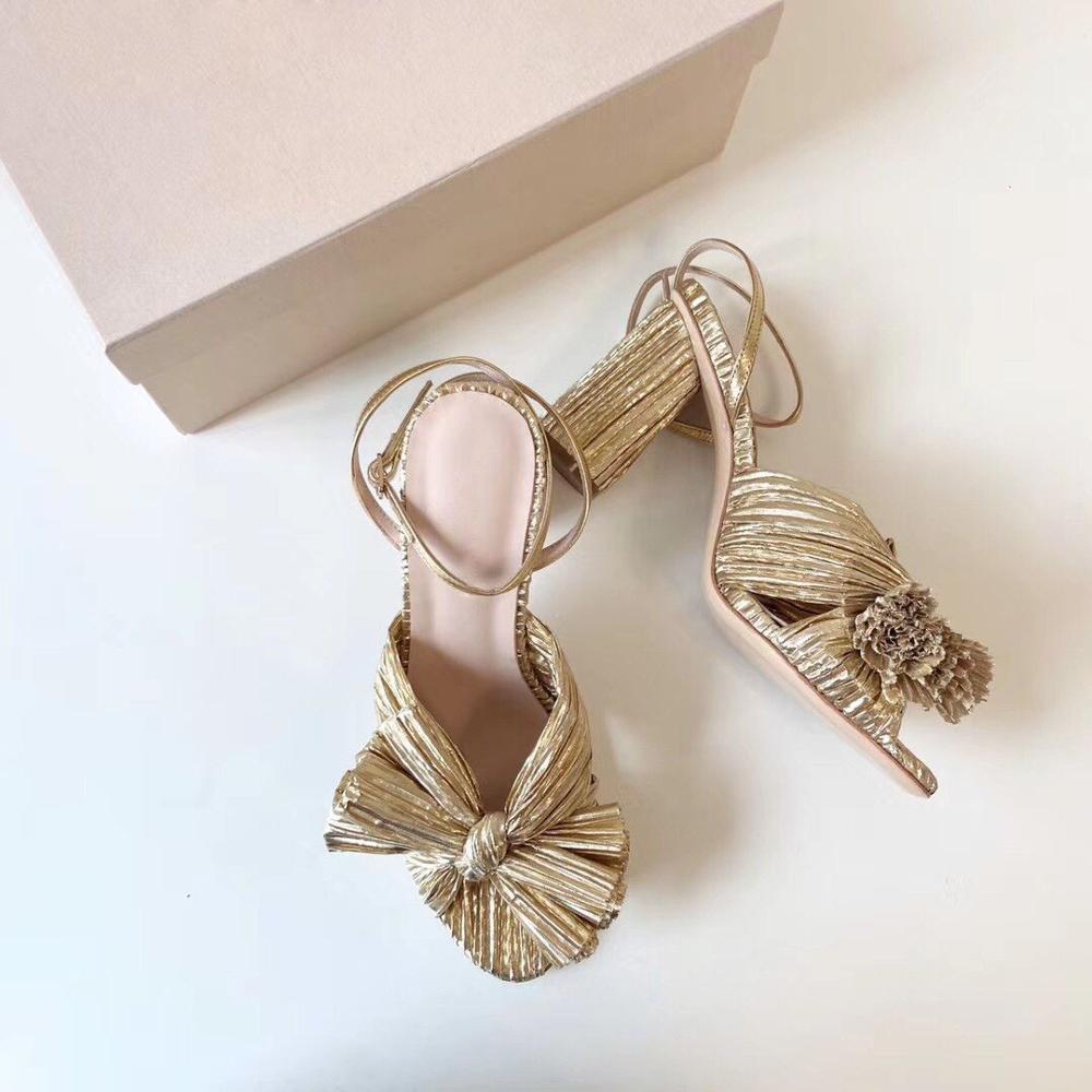 Yeni Ayakkabı Yaz Kelebek-Düğüm Sandalet Kadın Sandalet Altın Tel Ayakkabı Kadın Moda Slaytlar Yüksek Topuklu Ayak Bileği-Wrap Sandalet 210302