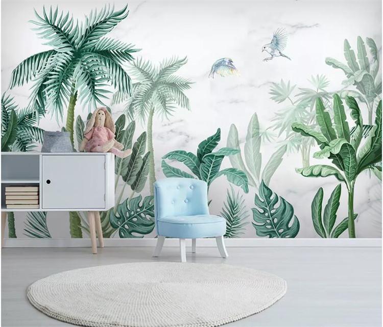 Duvar Kağıtları Tropikal Palmiye Duvar Kağıdı Duvar Kağıdı Duvar Duvar Dekoratif Kağıtları Ev Geliştirme Yağmur Ormanı Yeşil Bitki Yaprak Duvar Resimleri
