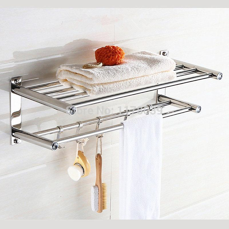 Без бурового отверстия Ванная стойка для ванной комнаты с полкой и крючками, всасывающая стена из нержавеющей стали отель ванной комнаты полотенце стеллажи, J16388
