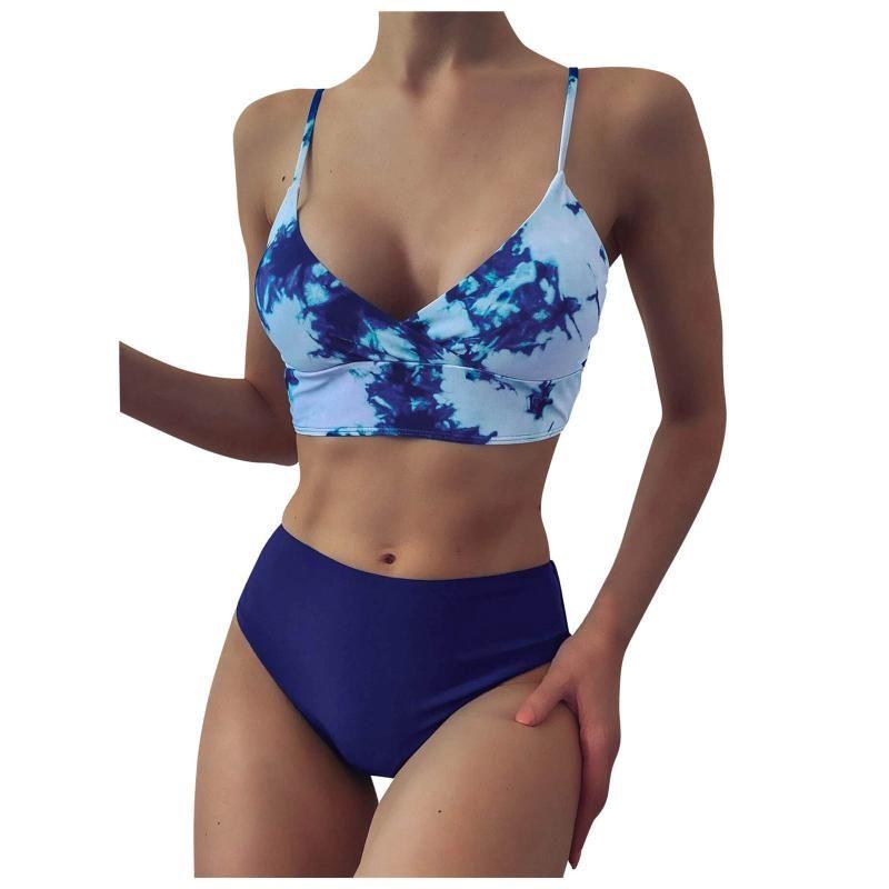 Mulheres Swimwear Mulheres Bandau Bandau Bikini Set Push-up Brazilian Tie-tintura Beachwear Split Swimsuit Tankini Biquin Maillot de Bain
