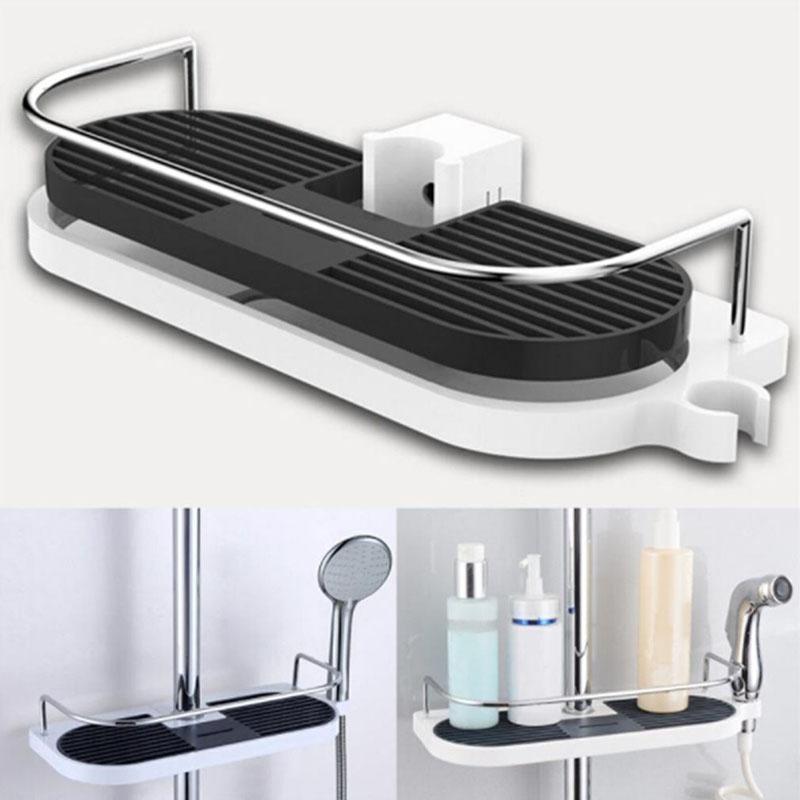 Heißer Verkauf Edelstahl Badezimmerregal Dusche Lagerregner Halter Shampoo Badetuch TACH TRAY HOME BAYP BACK-Regale Single Tier