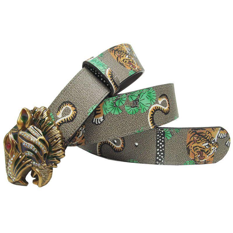 Western Tiger Print Design Bracelet en cuir Hommes Ceinture Strass Strass Tiger Boucle Hommes Jeans