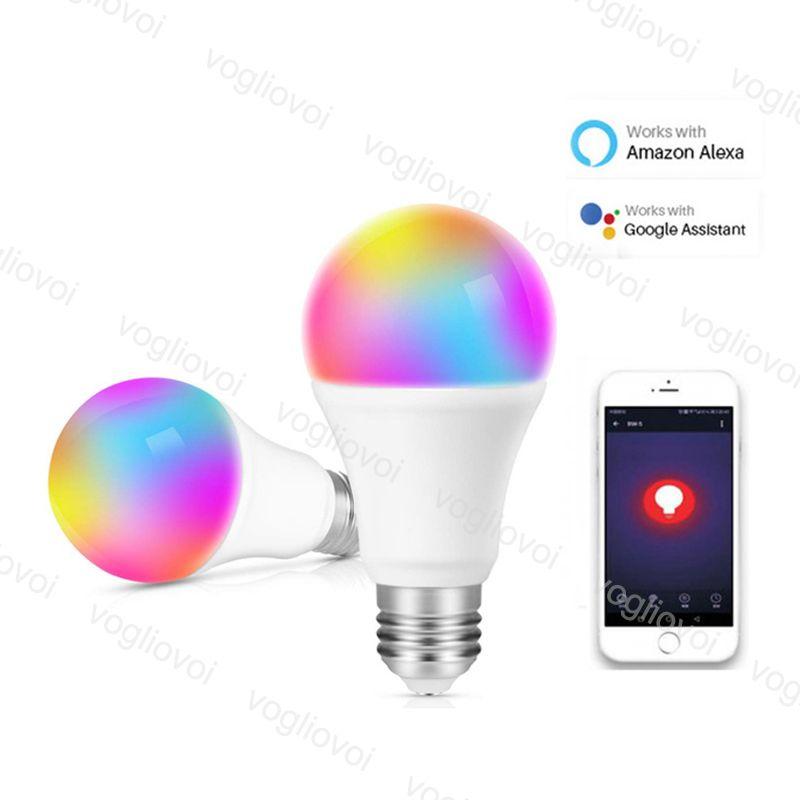LED 전구 9W 와이파이 스마트 전구 E27 램프 AC100-240V RGBW 다채로운 변경 작업 Alexa Google 홈 시간 모드 DHL